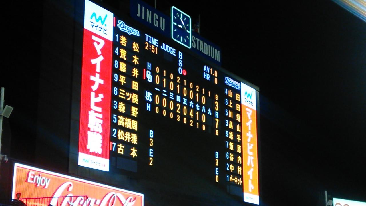 田島、接戦をぶち壊し。古本初打席初安打