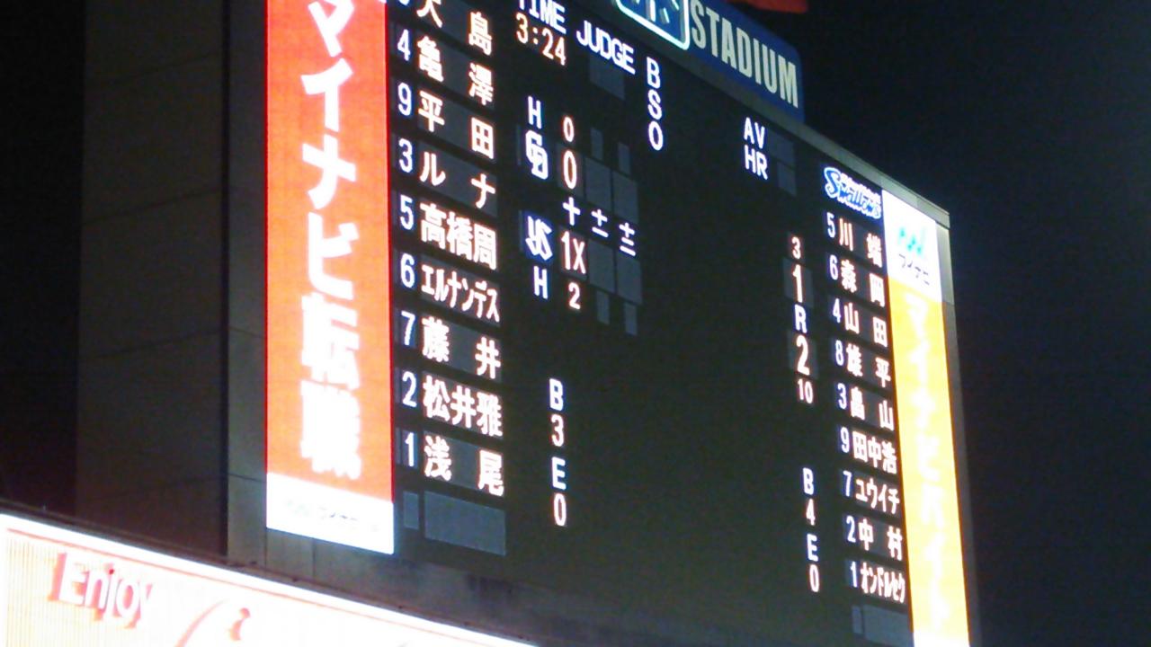 聡文浅尾でサヨナラ負け、DRAGONS8連勝ならず